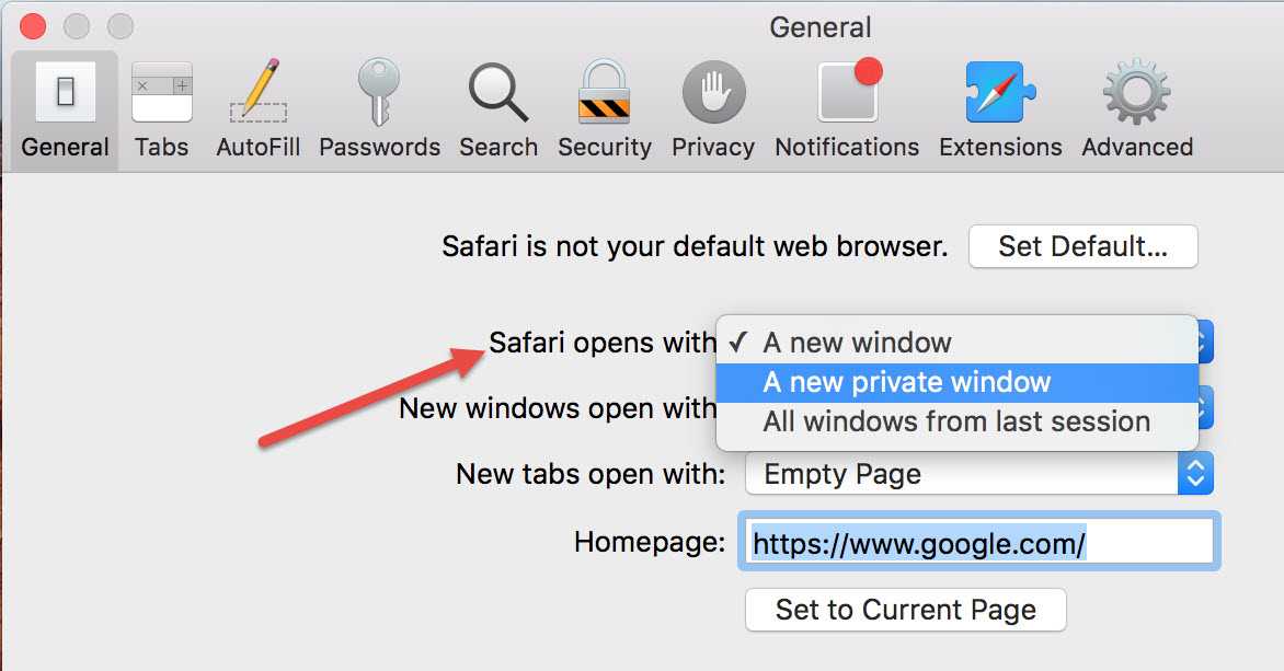 set safari as default browser
